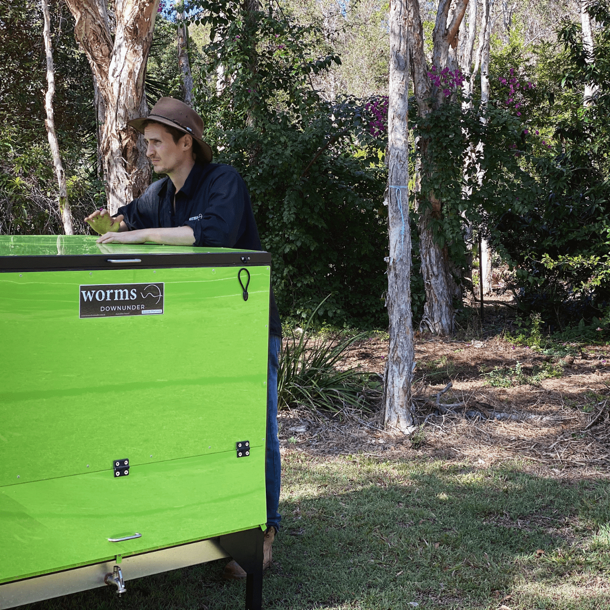 Commercial Green Worm Bin and Team Member